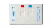AMP US Style Low Profile Faceplate 2 ports